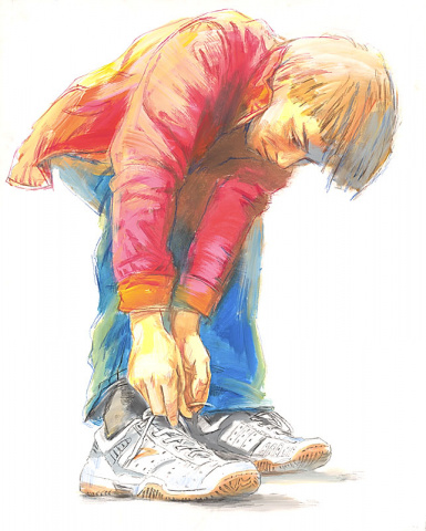 Young Man Tying Shoe-Laces, Yury Sychev