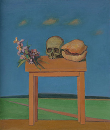 Still Life with Skull and Shell in Landscape