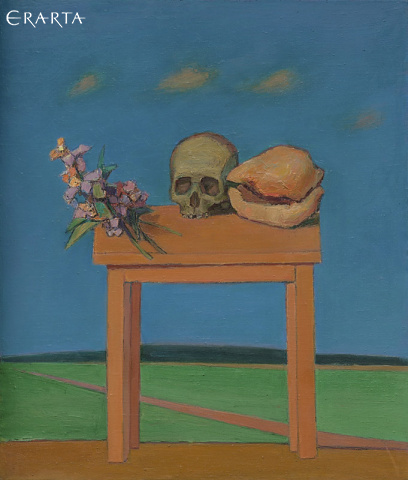 Still Life with Skull and Shell in Landscape, Ivanov Mikhail